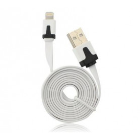 Data kabel plochý Apple Lightning (iPhone 5, 6, 7) 1m, bílá iOS9