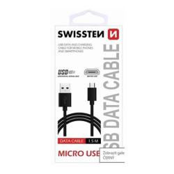 Data kabel SWISSTEN microUSB 1,5m, černá