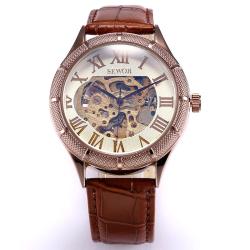 Elegantní automatické hodinky SEWOR s hnědým koženým páskem