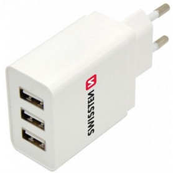 SWISSTEN síťový adaptér SMART IC 3x USB 3,1 A bílý