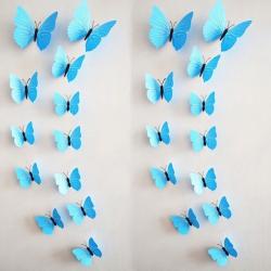 12 kusů - 3D nálepka / samolepka na stěnu - modří motýli