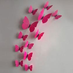 12 kusů - 3D nálepka / samolepka na stěnu - červení motýli