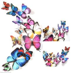 12 kusů - 3D nálepka / samolepka na stěnu - barevní motýli
