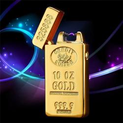 Plazmový Zlatý Nabíjecí Zapalovač - Zlatá cihla