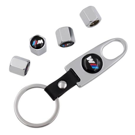 BMW ///M čepičky ventilků + přívěsek / utahovák - stříbrné