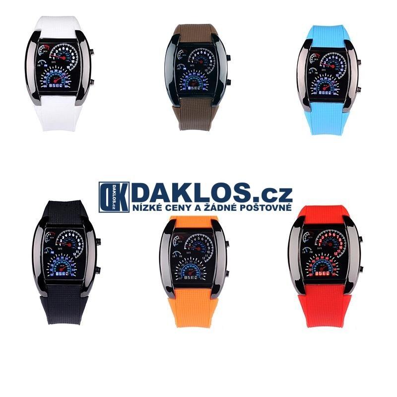 bafe19012d7 Digitální LED motoristické hodinky tachometr auto palubní deska ...