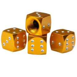 4x čepička ventilku - Zlatá hrací kostka