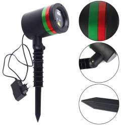 Vánoční laser projektor na dům - červené zelené vločky