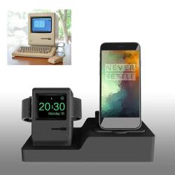 Stojánek pro Apple iPhone Airpods styl retro Macintosh - černý