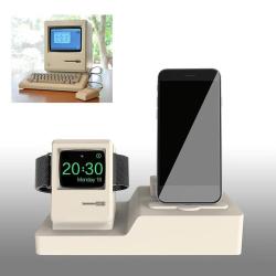 Stojánek pro Apple iPhone Airpods styl retro Macintosh - bílý
