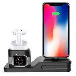 3 v 1 Stojánek DAITE pro Apple iPhone Watch AirPods - černý