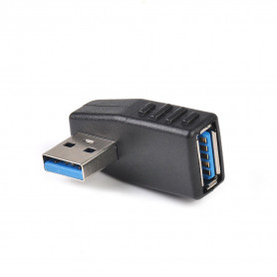 Rohový USB 3.0 adaptér / Roh / vertikální 90° / MALE - FEMALE