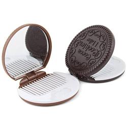 Kapesní zrcátko a hřeben do kabelky ve tvaru sušenka / keks