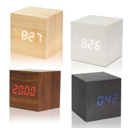 Dřevěný digitální budík / hodiny / teploměr - červené podsvícení