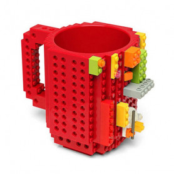 Styl LEGO hrnek 350ml - zábavný hrnek / stavebnice - červený