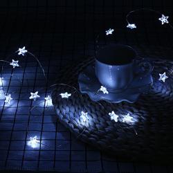 3m LED řetěz Hvězdičky - studená bílá na baterie