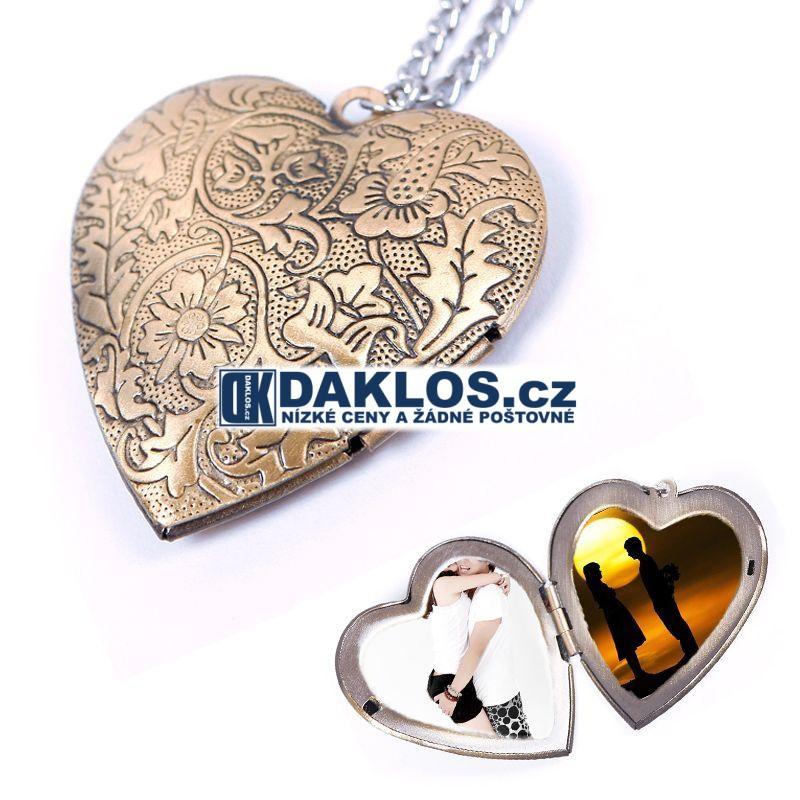 ... Řetízek   medailon na krk s přívěskem srdce pro fotografie   fotky ... 84746953a19