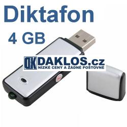 Diktafon (hlasový záznamník) s pamětí 4 GB