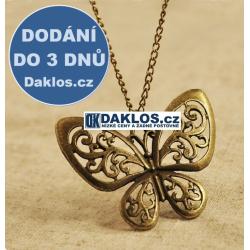 Řetízek / náhrdelník s přívěskem ve tvaru motýla