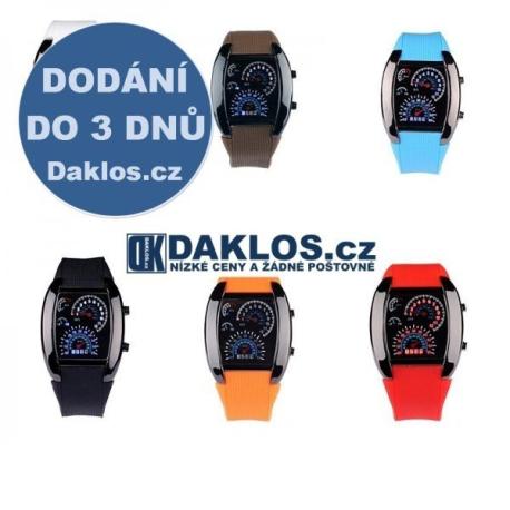 Digitální LED motoristické hodinky / styl tachometr
