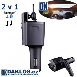 Bluetooth headset / Hands-free a nabíječka / 2 v 1