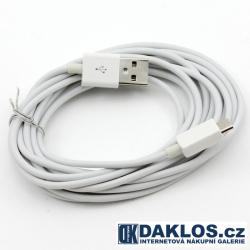 3 m - Datový a nabíjecí kabel z USB do Micro USB - bílý