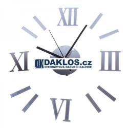 Nalepovací 3D nástěnné analogové hodiny - římské číslice