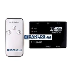 HDMI slučovač / přepínač s dálkovým ovladačem - 3 porty - HDTV - 1080p