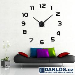 Nalepovací 3D nástěnné analogové hodiny - všechny číslice - stříbrné a černé