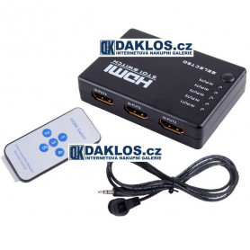HDMI slučovač / přepínač s dálkovým ovladačem - 5 portů - HDTV - 1080p