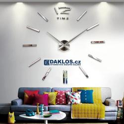 Velké nalepovací 3D nástěnné analogové hodiny - 12 - stříbrné