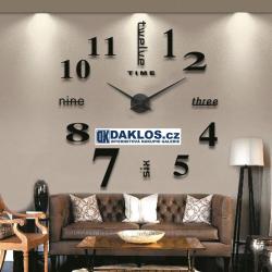 Nalepovací 3D nástěnné analogové hodiny - číslice a slova - černé