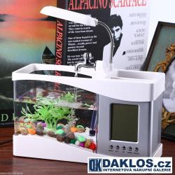 USB akvárium / aquarium / digitální hodiny / budík / teploměr / kalendář