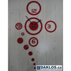 Nalepovací 3D nástěnné analogové hodiny - kruhy - červené
