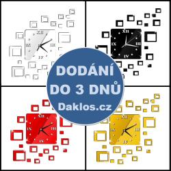 Nalepovací 3D nástěnné analogové hodiny - hranaté - černé, stříbrné