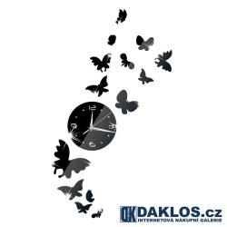 Nalepovací 3D nástěnné analogové hodiny s motýly
