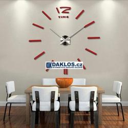 Velké nalepovací 3D nástěnné analogové hodiny - 12 - červené