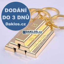 Přívěsek / klíčenka ve tvaru zlaté cihly / cihla zlata