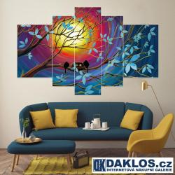 5x Obraz / Plátno / Plakát na zeď - Příroda / Západ slunce / Ptáčci