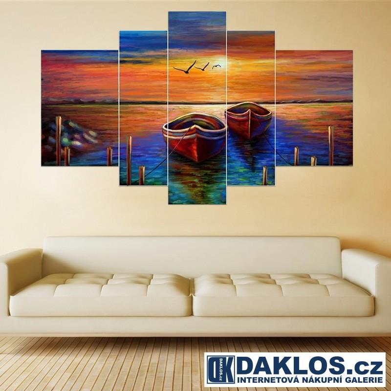 5x Obraz / Plátno / Plakát na zeď - Moře / Západ slunce / Lodě v přístavu
