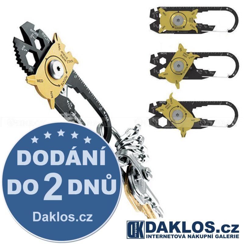 20 v 1 Přívěsek / klíčenka / karabina na přežití - otvírák, šroubovák, klíče, nůž, pilník, měřítko a jiné