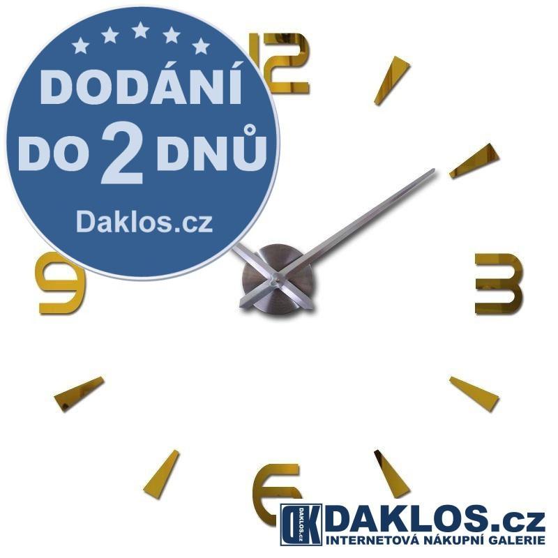 Velké nalepovací 3D nástěnné analogové hodiny - 4 čísla - zlaté