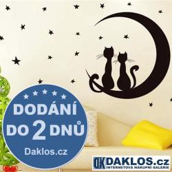 Nálepka / Samolepka na stěnu - Hvězdy / Měsíc / Kočky