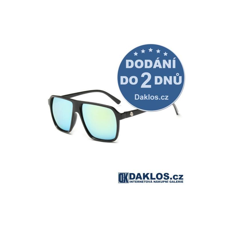 Černé RETRO sluneční brýle s modrými skly