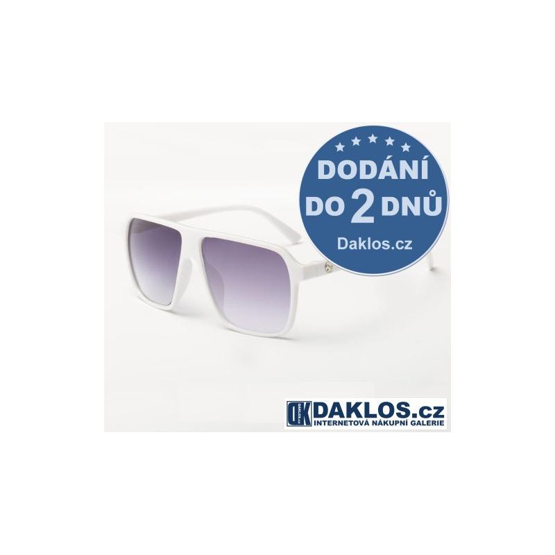 Bílé RETRO sluneční brýle s fialovými skly