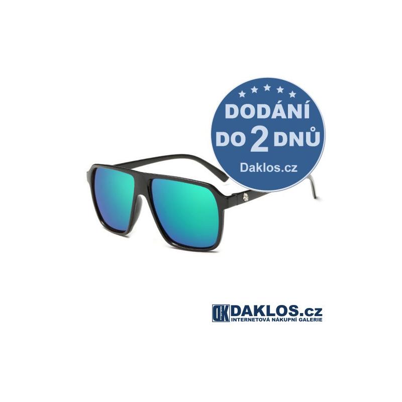 Černé RETRO sluneční brýle s modro-zelenými skly