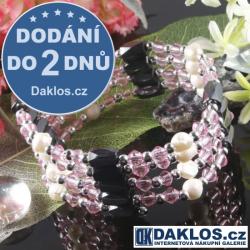 Luxusní magnetický náramek / náhrdelník Hematit s křišťálovým sklem - růžový