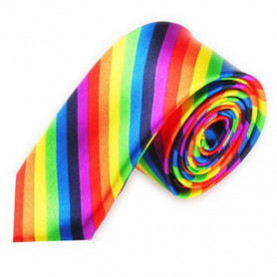 Luxusní úzká kravata barevná DUHA
