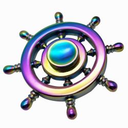 Kovový barevný Fidget Spinner Lodní kormidlo / Spinee proti stresu / Antistresové ložisko
