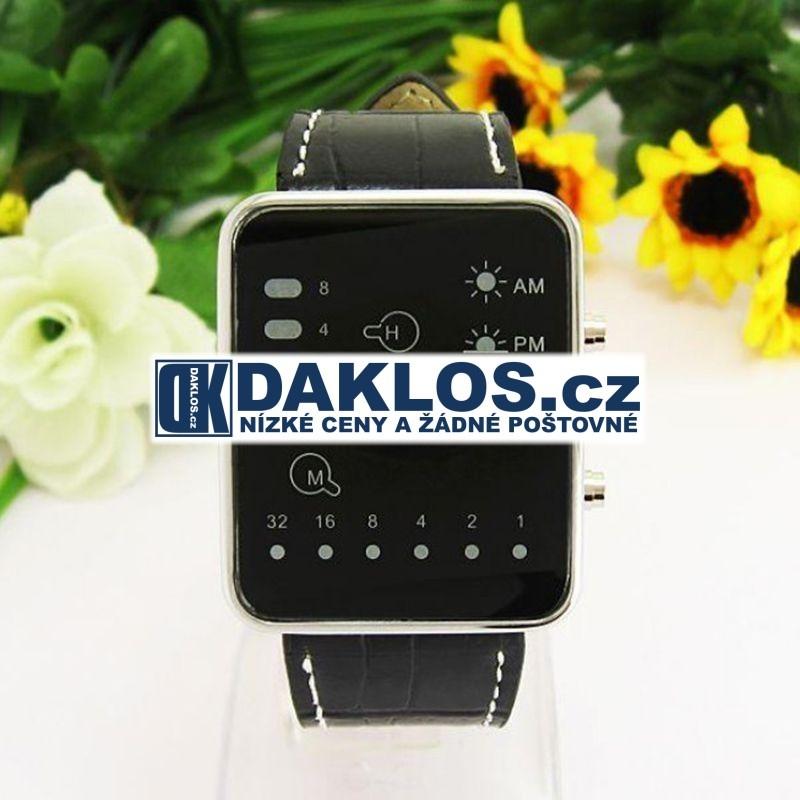 Moderní digitální LED hodinky s páskem z PU kůže